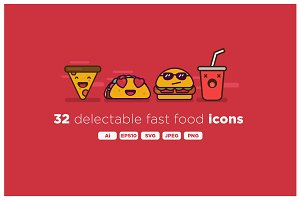 Delicious Fast Food Emoji Icon Set