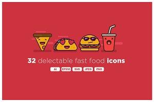 Delicious Fast Food Emoji Icon Set