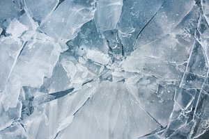 Shards of ice - frozen puddle