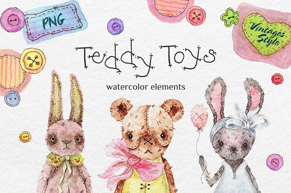 Teddy HandMade Watercolor Bundle