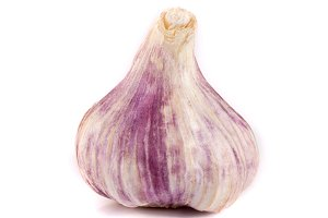One fresh garlic isolated on white background