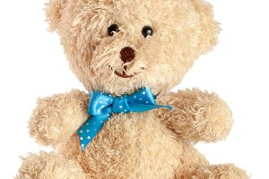 Toy teddy bear with blue bow isolated on white background