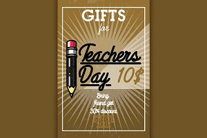 Color vintage teachers day banner