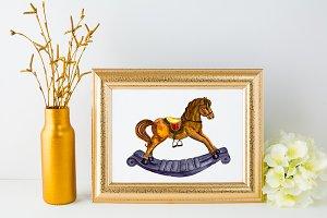 Watercolor Rocking Horse