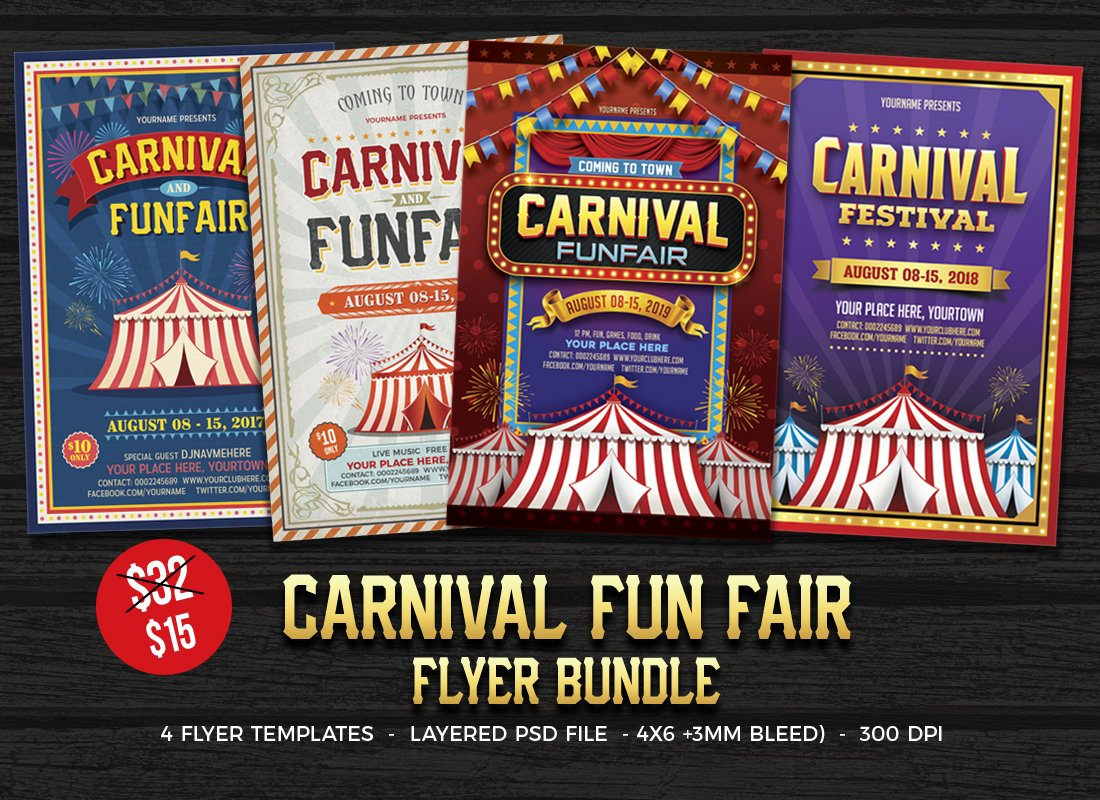 Carnival Fun Fair Flyer Flyer Templates Creative Market