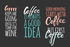 Coffee lettering big set