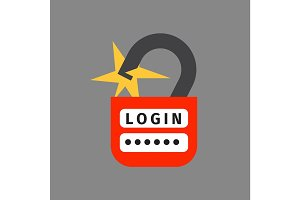 Lock icon security protection safety password sign privacy element and access shape open vector.
