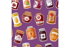 Glass jar with with jam configure or honey vector illustration packaging seamless pattern.