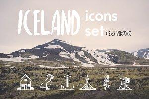 Iceland icons set