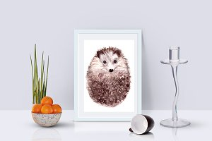 Watercolor Baby Hedgehog Print&Clip