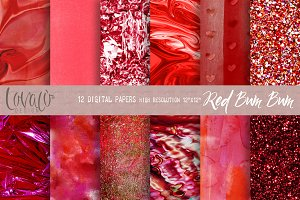 Red Bum Bum Digital Papers Texture