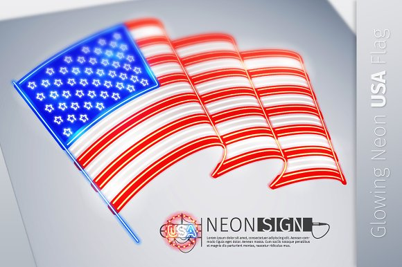 Neon Sign Wavy USA Flag