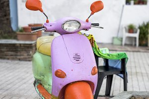 Colorful motorcycle on the street