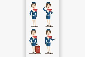Cute stewardess characters set