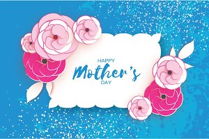 Happy Mother's Day Greeting card. Pink Paper cut Flower. Rectangle wave Frame. Space for text.