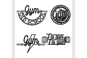 Set of vintage gym emblems