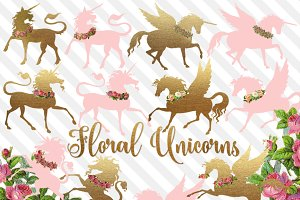 Floral Unicorns Clip Art