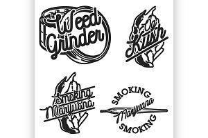 Vintage marijuana emblems