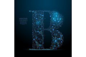 the letter B low poly blue