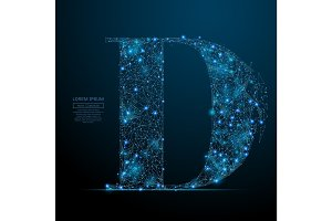 the letter D low poly blue