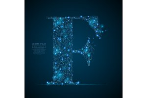 the letter F low poly blue