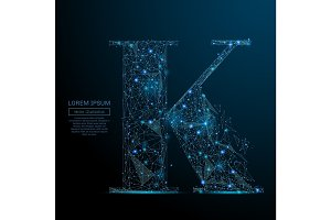 the letter K low poly blue