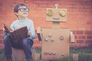little boy and robot