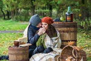 loving couple in autumn garden