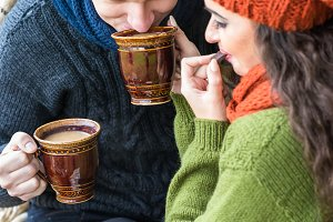 couple in love drinks coffee