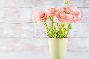 Beautiful pink ranunculus bouquet
