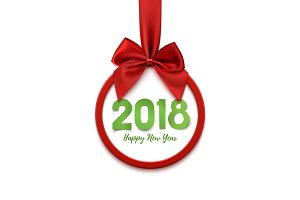 Happy New Year 2018 banner isolated on white.