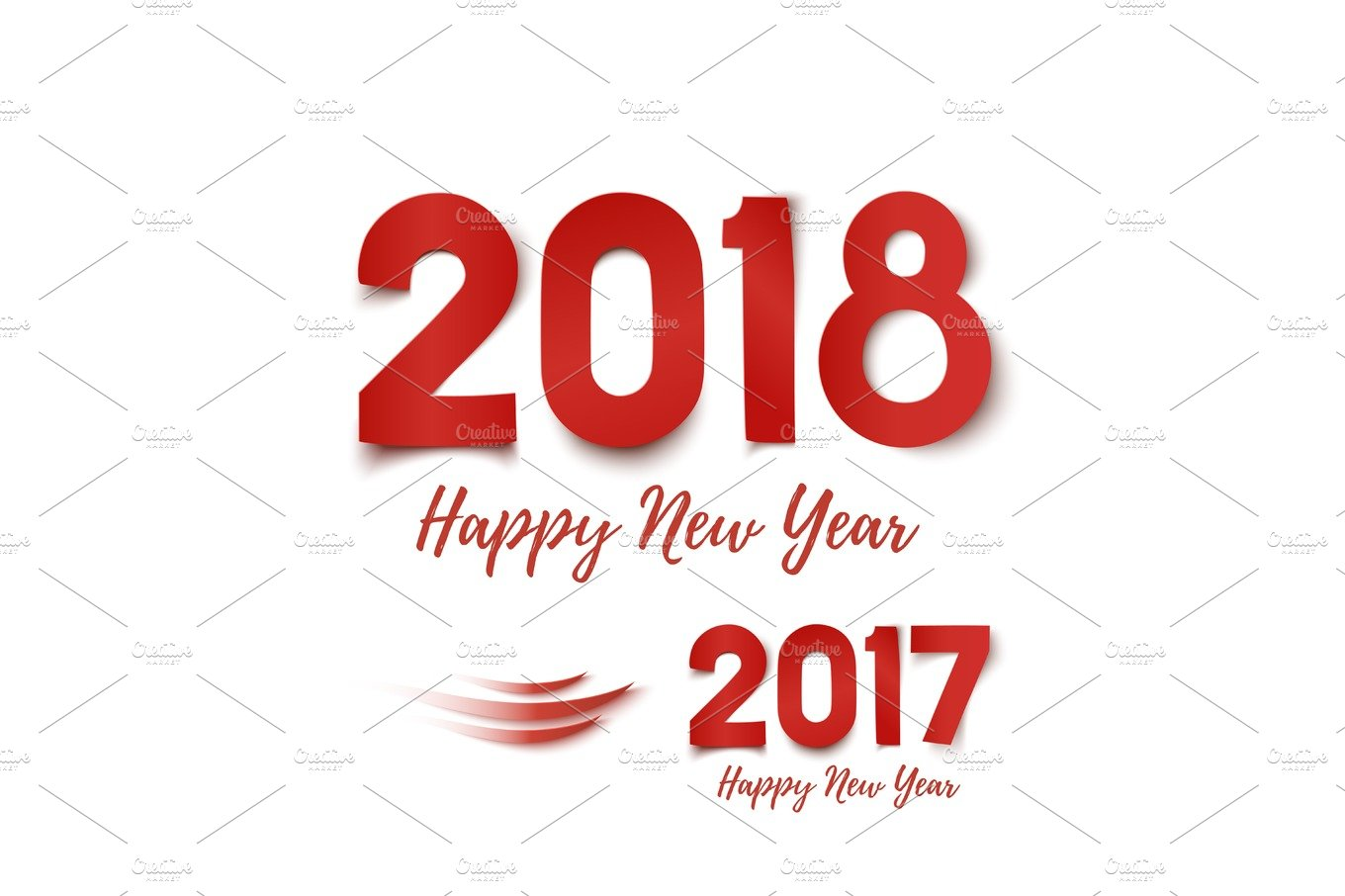 happy new year 2017 2018 greeting card template graphic objects creative market