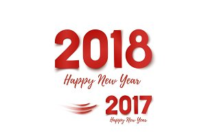 Happy New Year 2017- 2018 greeting card template.