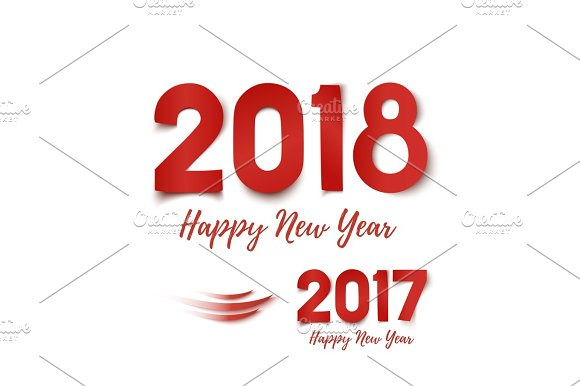 happy new year 2017 2018 greeting card template objects