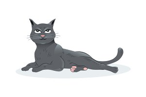 Illustration of a black cat sitting
