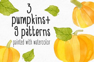 Watercolor Pumkins + Patterns