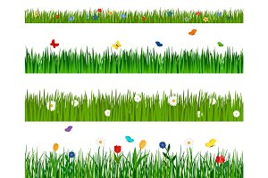 Grass and flowers horizontal seamless pattern