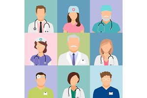 Doctors and nurses profile icons