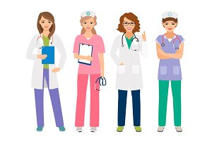Young female doctor and nurse characters
