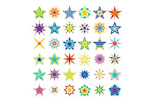 Kaleidoscope crazy multicolor star set