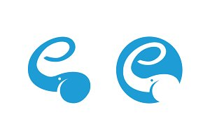 Elephant logo showing letter e