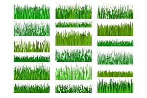 Grass border horizontal seamless pattern