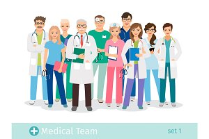Hospital team isolated on white background