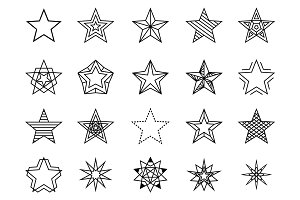 Linear stars vector set