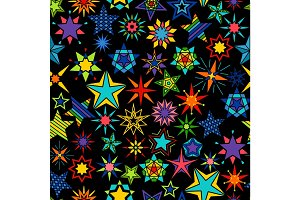 Kaleidoscope stars black background