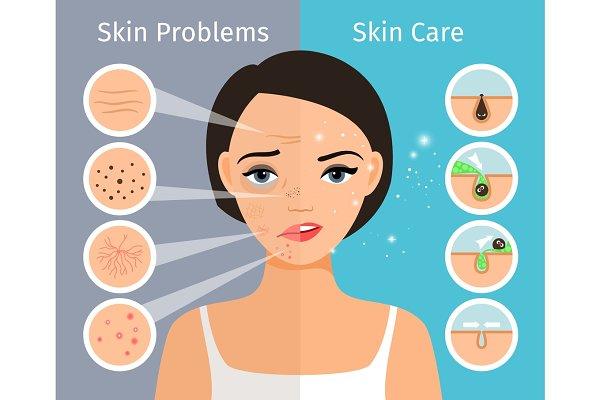 Female head with skin problems solu…