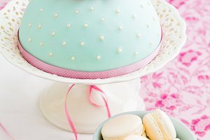 Decorated cake and macarons
