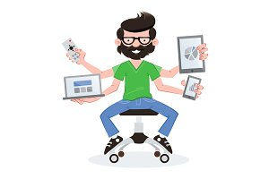 Geek guy with responsive devices