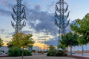 High voltage tower at sunset II