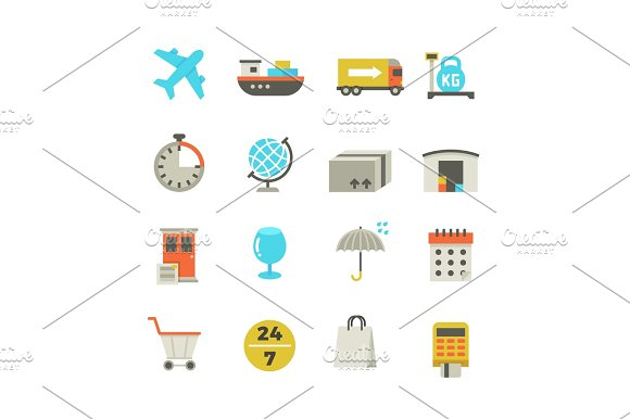 Import And Export Delivery Logistics Aircraft Shipping Loading Vector Flat Icons